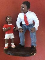 """Figurine Father & Son Talking Black African-American Red White Accents 6""""Hx4""""W"""