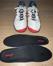 New listing Men's Asics Court FF2 Tennis Shoes, Size 11, White, Red, Blue