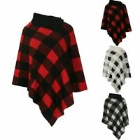 NEW LADIES WOMEN CHECKED PRINT KNITTED PONCHO CARDIGAN JUMPER TOP SIZE 8-18