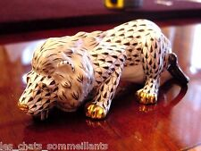 HEREND, LION PORCELAIN FIGURINE, BLACK FISHNET, FLAWLESS, RETAIL $590