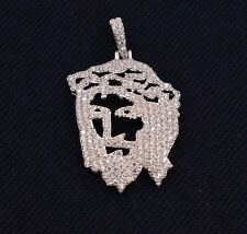 "Jesus Christ Face Iced Out CZ Pendant Sterling Silver 925 1.6"" 5.20 grams"