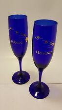 SET OF 2 HAWAIIAN ISLANDS GLASSES COBALT BLUE