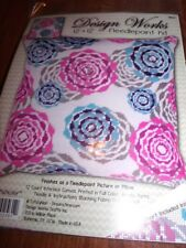 "Design Works MULTI COLOR FLORAL Pink & Turquoise Needlepoint Kit  12"" x 12"" New"