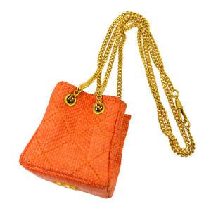 CHANEL CC Quilted Chain Mini Hand Pouch Orange Linen Bag Charm AK37965d