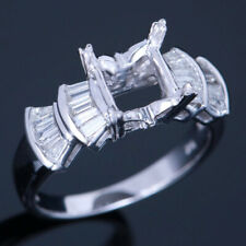 Princess Baguette 1/5Ct Real Si/H Diamond Semi Mount Setting Ring 10K White Gold
