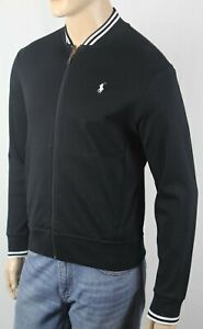 Polo Ralph Lauren Black Full Zip Sweatshirt Track Jacket White Pony NWT