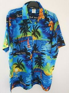 West Indies St.Kitts Vivid Blue Tropical Palm Boats Vintage Shirt by Rima Size L