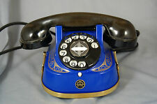 BELGIUM TABLE TELEPHONE BAKELITE AND METAL ONE OFF SPECIAL IN ROYAL BLUE MINT