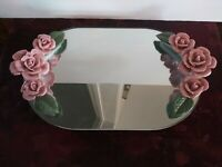 Vintage Pink Ceramic Rose Mirrored Vanity Tray Make-up Perfume Dresser Display