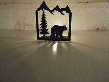 Laser Cut Steel Candle Holder desk hunt cabin home decor GRIZZLY BLACK BEAR BLK