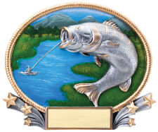 "3D Full Color Resin Oval Plates Trophy 8"" x 7"" Bass Fishing Free engraving"