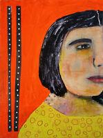 Outsider Art Original Unique OOAK Portrait Painting Katie Jeanne Wood