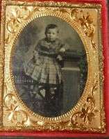 1/9th size Tintype of young child posed in studio, half case