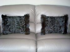 "2 LG BROWN SWAKARA LAMB & FOX FUR PILLOWS 22"" x 16""  cushion throw taxidermy"