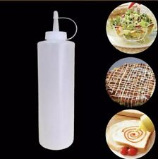 Set Of Two 12 oz Clear Plastic Bottle -Condiment Dispenser Ketchup Mustard Sauce