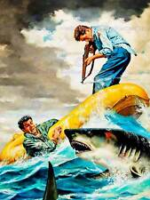 PULP FICTION ILLUSTRATION SHARK ATTACK NEW FINE ART PRINT POSTER CC4211