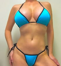 STRIPPER EXOTIC DANCER SHIMMERY TURQUOISE/BLACK SLIDER BIKINI C/D TOP THONG SET