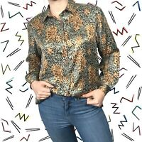 Silk Vintage Blouse Women's Size Small - Padded Shoulders Grazia Patterned Top