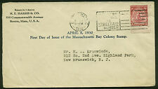 #682 MASS. BAY COLONY FDC-BOSTON, MA-- H. E. HARRIS CACHET PLANTY 682-5