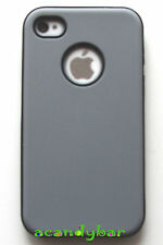 Apple iPhone 4 4S Grey Soft Skin Silicone Rubber Light Weight Classic Cover Case