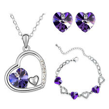 Deep Purple Hearts Jewellery Set Stud Earrings Necklace & Bracelet S452