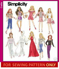 SEWING PATTERN! MAKE DOLL CLOTHES!  FITS BARBIE!  8 OUTFIT~GOWN~PANTS~SKIRT~TOP