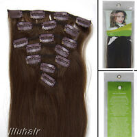 20Inch 7Pcs Straight Clip In Real Remy Human Hair Extensions 70G 04 Medium Brown