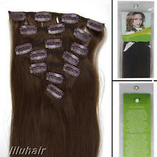 18Inch 7Pcs Straight Clip In Real Remy Human Hair Extensions 70G 04 Medium Brown