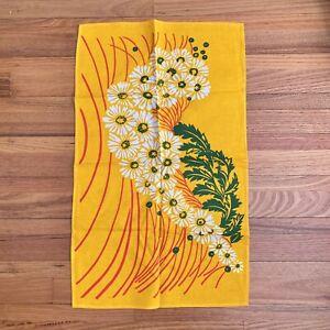 Vintage YELLOW Cotton FLORAL Daisy PRINT Cotton TEA Towel ~ UNUSED
