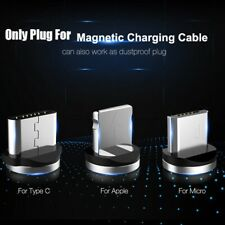 360° Round LED Flash Magnetic Micro USB Type C Charger Cable For iPhone 8 7 6S