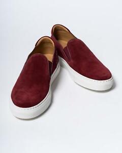 Isaia NIB $650 Fuchsia Red Slip On Suede Fashion Sneakers Shoes 8 UK 42 eu 9 US