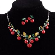 Sets Betsey Johnson Fashion Jewelry personality Cherry Necklace and Earring Hot