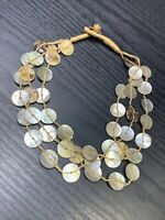 Bohemian Natural Beaded Mother Of Pearl   Multi 3 Strand necklace 16""