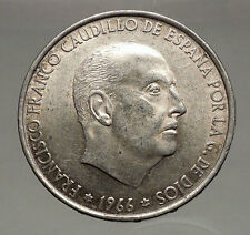 1966 Francisco Franco Cadillo of Spain 100 Pesetas Silver Spanish Coin i56628