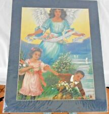 "African American Black Guardian Angel Girl and Boy 20""x16"" with Mat Picture"