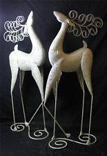 """New Set of 2 Standing Gold Silver Glitter Christmas Reindeer Deer Statue 24"""" Raz"""