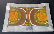 VINTAGE RETRO KITCHEN SET LINEN TEA TOWEL COTTON OVEN MITT 60's FLOWER POWER MCM