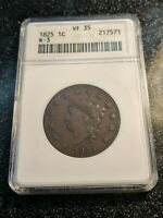 1825 Coronet Head Large Cent N-3 R-3 ANACS VF-35