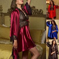 Sexy Women Satin Lace Silk Lingerie Set Sleepwear Nightdress Robe Gown Babydoll
