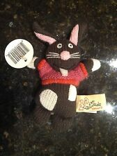 Latitude Enfant Bunny Rabbit Plush Brown Knit Pink Sweater mini Stuffed Animal