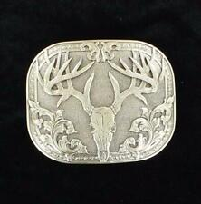 Nocona Western Mens Belt Buckle Deer Skull Silver 37984