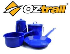 OZTRAIL ENAMEL CAMPSITE COOKSET CAMP COOKING POTS & FRY PAN OCK-ECC-F