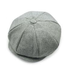 UK Mens Flat Cap Beret Herringbone Newsboy Bakerboy Hat Gatsby Peaky Blinders # 14