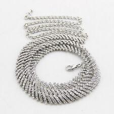 donna argento strass cintura vita catena strass diamanti fibbia 735