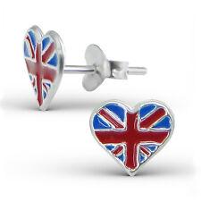 925 Sterling Silver Childrens Kids Girls England Heart Ear Studs-Free Gift Box