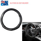 1x Genuine Leather Skidproof Auto Car Steering Wheel Cover 38CM M Size Black AU