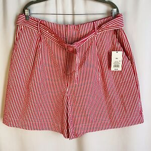 A New Day Womens Size 2XL Striped Belted High Rise Shorts Pink & White NWT M3/4