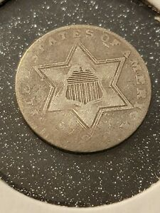 1856 3cs Three Cent Silver Trime VF