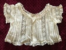 ANTIQUE Victorian BABIES BLOUSE w. Valenciennes lace insertions &handmade button