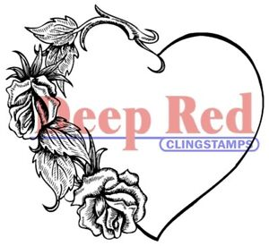 Deep Red Stamps Heart with Roses Rubber Cling Stamp